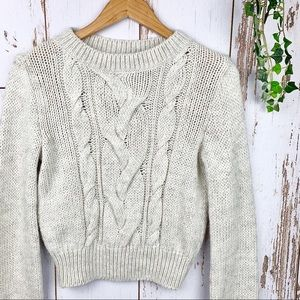 Chunky White Cream Cable Knit Crop Sweater Fuzzy